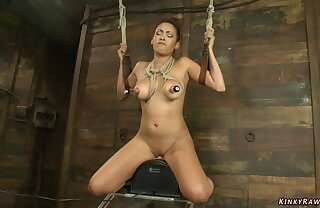 Bound obese bust bitch riding Sybian