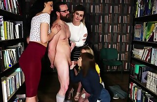 CFNM babes blowing humiliated guy in library