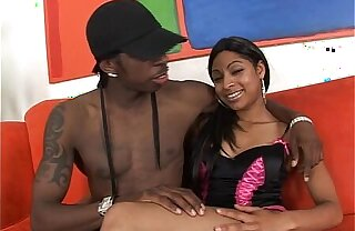 Cute babe spreads legs be proper of black mutant cock