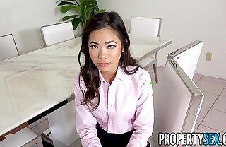 PropertySex - Hot pygmy Asian real estate agent fucks will not hear of boss