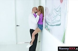 Compacted tits blonde teen babysitter Lilly railed overwrought big cock